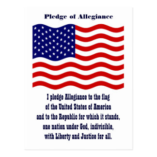 Pledge of Allegiance with flag Postcard