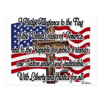 Pledge of Allegiance with US Flag and Cross Postcard