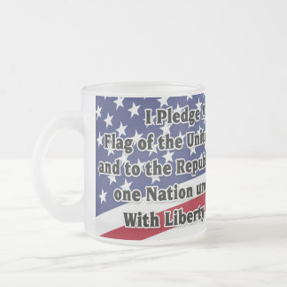 Pledge of Allegiance with US Flag Frosted Glass Coffee Mug