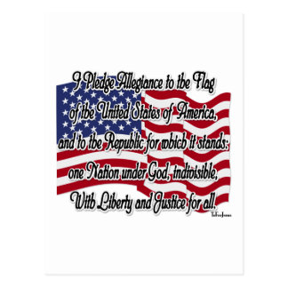 Pledge of Allegiance with US Flag Postcard