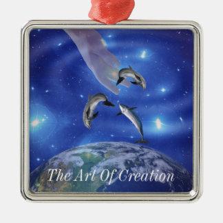 Pleiades Art of Creation Square Metal Christmas Ornament