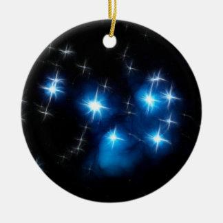Pleiades Blue Star Cluster Ceramic Ornament