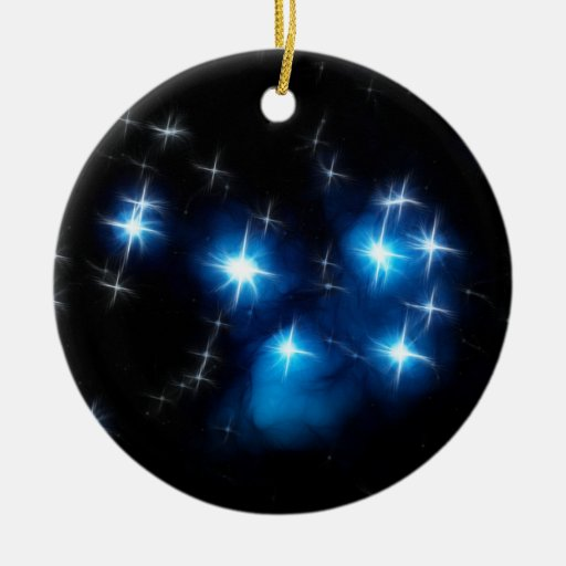 Pleiades Blue Star Cluster Double-Sided Ceramic Round Christmas Ornament