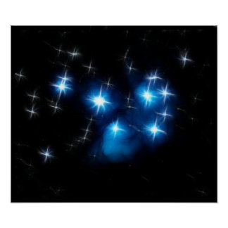Pleiades Blue Star Cluster Poster