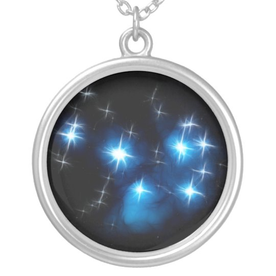 Pleiades Blue Star Cluster Silver Plated Necklace