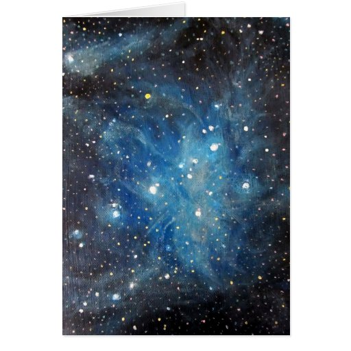 Pleiades Space Art Constellation Painting Print Greeting Card