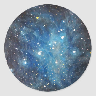 Pleiades Space Art Constellation Painting Print Classic Round Sticker