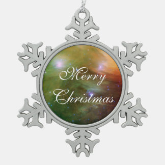 Pleiades Spitzer Telescope Snowflake Pewter Christmas Ornament