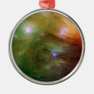 Pleiades stars in infrared light metal ornament