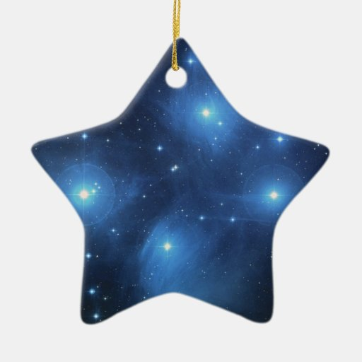 Pleiades The seven sisters blue stars Double-Sided Star Ceramic Christmas Ornament