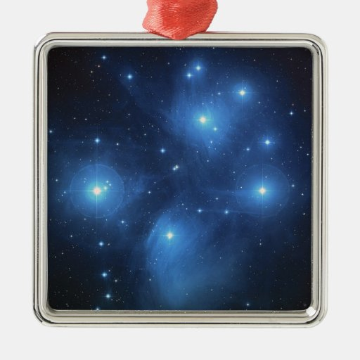 Pleiades The seven sisters blue stars Square Metal Christmas Ornament