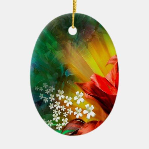 Plena floración de la flor abstracta adorno ovalado de cerámica