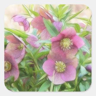¡Plena floración - Hellebores Calcomania Cuadradas Personalizada