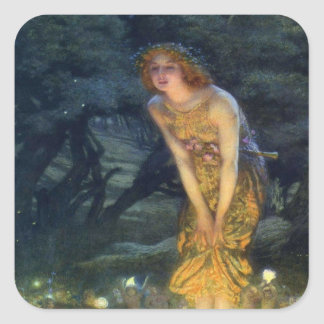 Pleno verano Eve con un anillo de hadas 1908 Pegatina Cuadrada