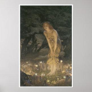 Pleno verano Eve, pintura de hadas 1908 del vintag Posters