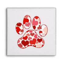 Plenty of Hearts Paw Print Pattern Envelope