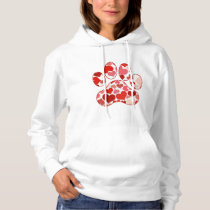 Plenty of Hearts Paw Print Pattern Hoodie