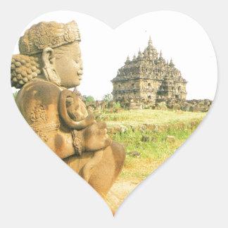 Pleosan Buddhist temple, Prabanam, Java, Indonesia Heart Sticker