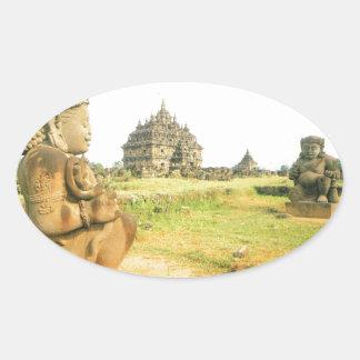 Pleosan Buddhist temple, Prabanam, Java, Indonesia Oval Sticker