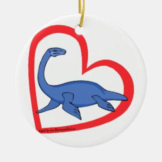 Plesiosaur Heart Ceramic Ornament