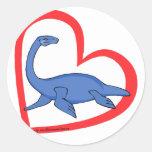 Plesiosaur Heart Sticker