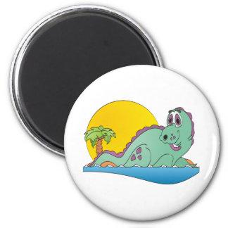 Plesiosaurus Cartoon 2 Inch Round Magnet