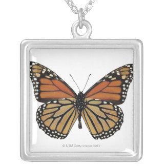 Plexippus Danaus Butterfly Square Pendant Necklace