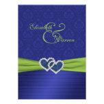 Plisados del azul real e invitación chartreuse