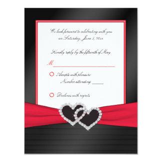 Plisados rojos y negros del satén con la tarjeta invitación 10,8 x 13,9 cm