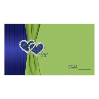 Plisados y damasco chartreuse Placecards del azul Tarjetas Personales