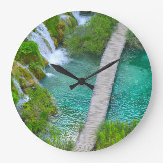 Croatian wall clocks zazzle plitvice national park in croatia hiking trails large clock sciox Image collections