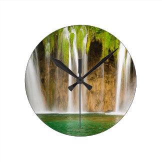 Plitvice Waterfall Round Clock