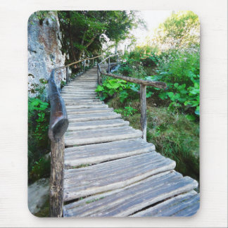 plitvice wooden path, croatia mouse pad
