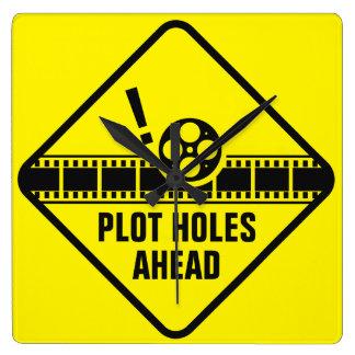 Plot Holes Traffic Sign Square Wall Clock