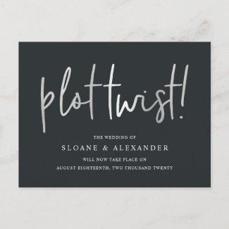 Plot Twist | Modern Silver Wedding Reschedule Announcement Postcard
