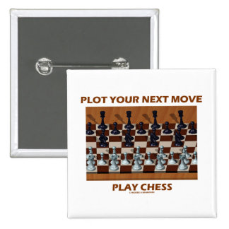 Plot Your Next Move Play Chess (Chess Stereogram) 2 Inch Square Button