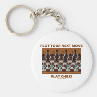 Plot Your Next Move Play Chess (Chess Stereogram) Basic Round Button Keychain