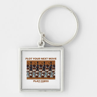 Plot Your Next Move Play Chess (Chess Stereogram) Silver-Colored Square Keychain