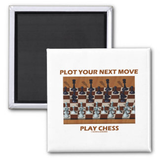 Plot Your Next Move Play Chess (Chess Stereogram) 2 Inch Square Magnet