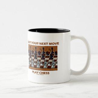 Plot Your Next Move Play Chess (Chess Stereogram) Two-Tone Coffee Mug