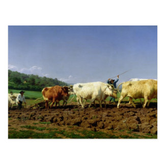 Ploughing in Nivernais, 1849 Postcard