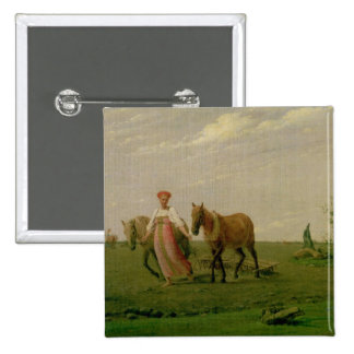 Ploughing in Spring, 1820s Button