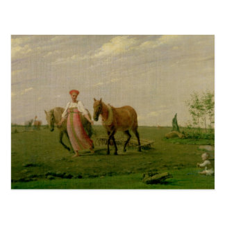 Ploughing in Spring, 1820s Postcard