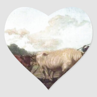 Ploughing in the Nivernais, France by Rosa Bonheur Heart Sticker