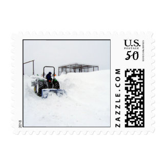 Ploughing Snow on the Ranch Postage