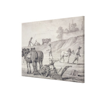 Ploughing the Fields Stretched Canvas Prints