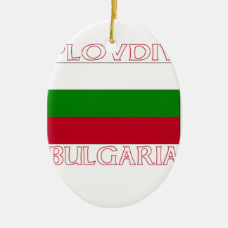 Plovdiv, Bulgaria Double-Sided Oval Ceramic Christmas Ornament