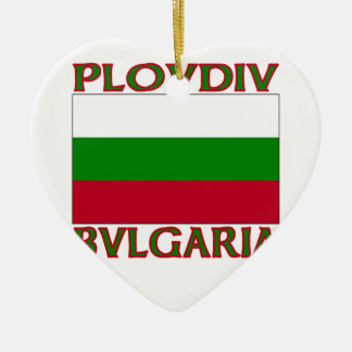 Plovdiv, Bvlgaria Double-Sided Heart Ceramic Christmas Ornament