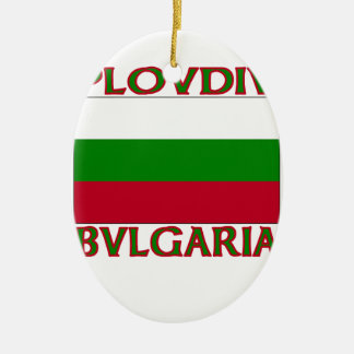 Plovdiv, Bvlgaria Double-Sided Oval Ceramic Christmas Ornament