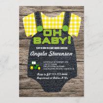 Plow Farmer Tractor Baby shower invitation
